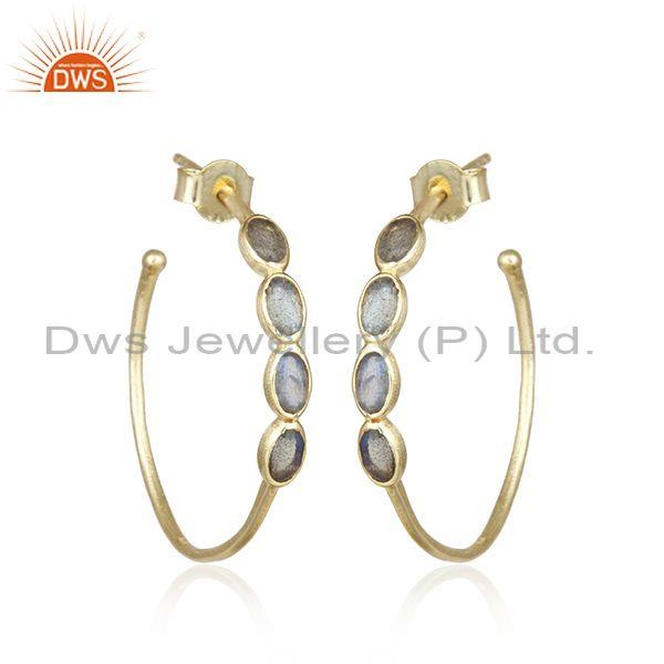 Labradorite Set Gold On Silver Handmade Round Hoop Earrings
