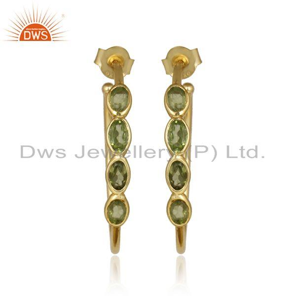 Peridot gemstone designer womens gold plated 925 silver earrings
