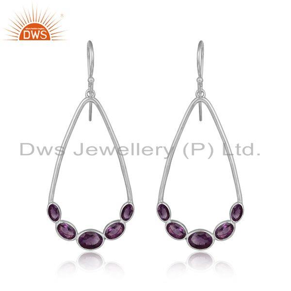 Womens 925 sterling fine silver natural amethyst gemstone earrings