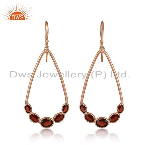 Natural garnet gemstone rose gold plated silver designer earrings