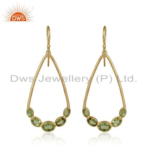 Natural Peridot Gemstone Handmade Gold Plated Silver Dangle Earrings