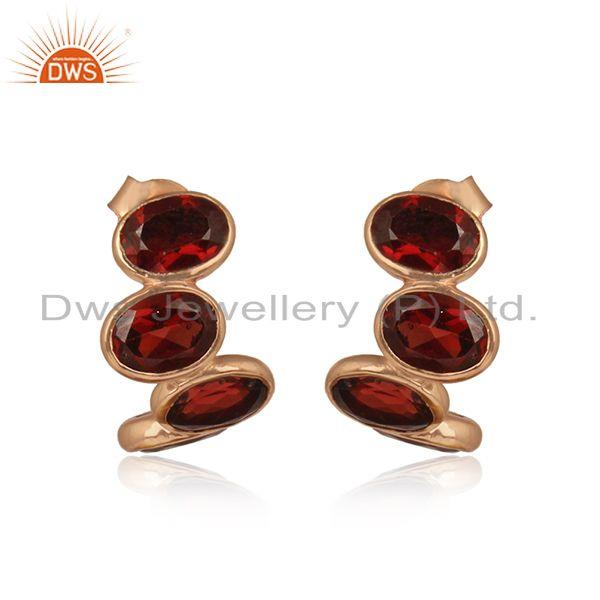 Designer Curved 3 Stone Rose Gold on Silver Earring with Garnet