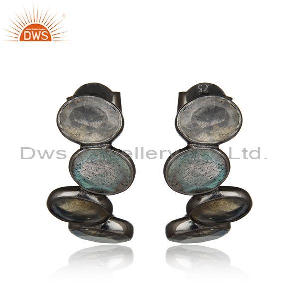 Designer Multistone Black Rhodium on Silver Labradorite Earring