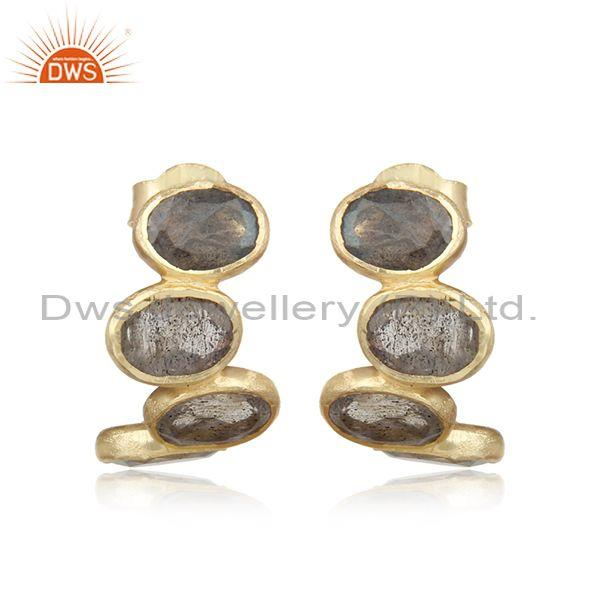 Designer Multistone Yellow Gold on Silver Labradorite Earring