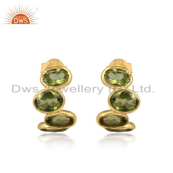 Designer Curved 3 Stone Yellow Gold on Silver Earring with Peridot
