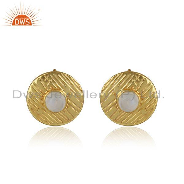 Round disc design gold plated silver texture gemstone earrings