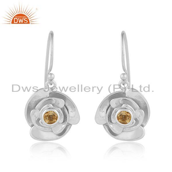 Citrine gemstone sterling fine silver rose flower design earrings