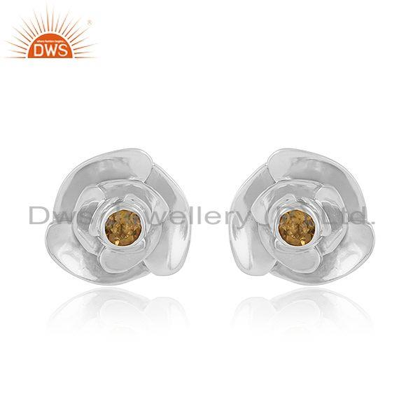 Rose design 925 sterling fine silver citrine gemstone stud earring