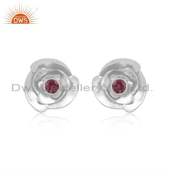 Round cut ruby set gold on fine silver rose design earrings