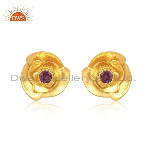 Round cut ruby set gold on 925 silver rose design earrings