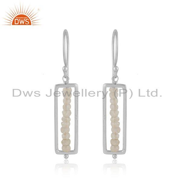 925 sterling silver beaded moonstone gemstone designer earrings