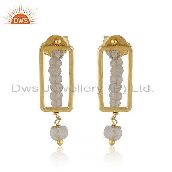 Beaded drop rainbow moonstone gemstone gold plated silver earring