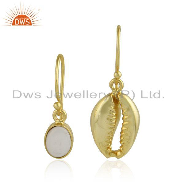 Mother of Pearl Gemstone Cowrie Gold Plated Silver Earrings Jewelry