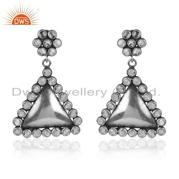 Oxidized sterling silver antique cz gemstone designer earrings