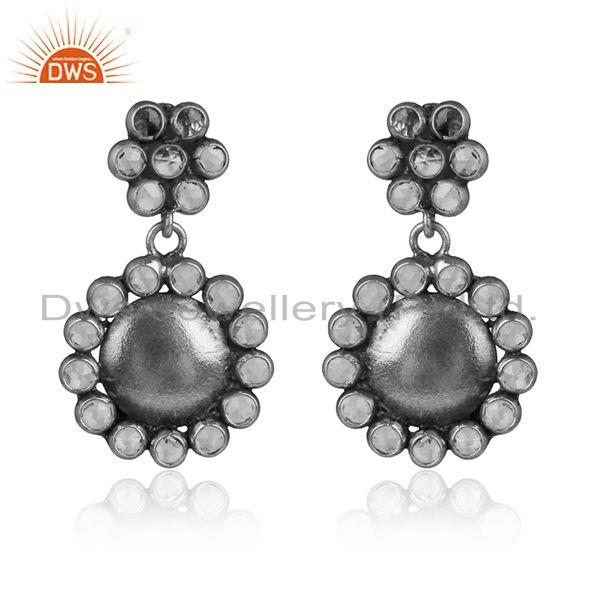 Flower Design Antique Oxidized Silver CZ Gemstone Earring Jewelry