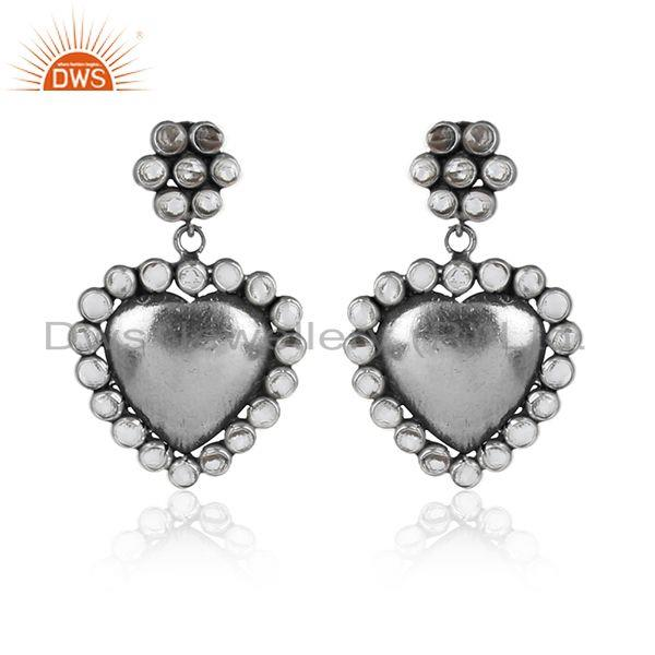 Heat design oxidized antique silver cz gemstone earrings jewelry