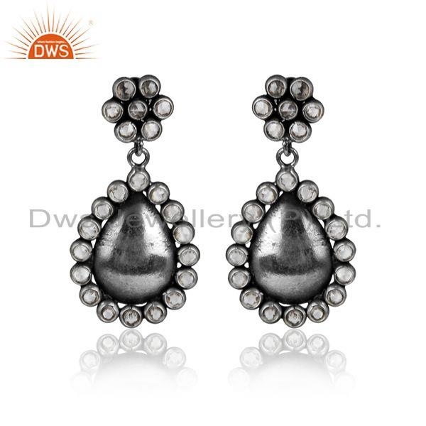 Antique Oxidized 925 Silver Designer CZ Gemstone Designer Earring