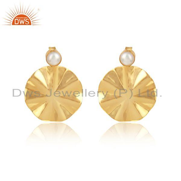 Natural Pearl Gemstone Disc Design Gold Plated 925 Silver Earrings