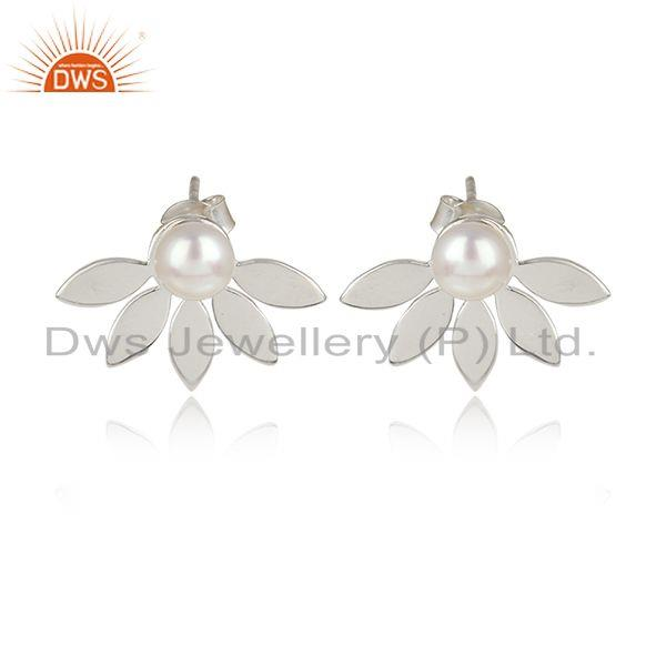 Designer leaf earring in sterling silver enchanted with pearl