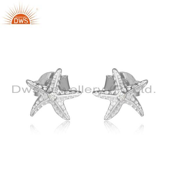 Star design 925 sterling fine silver cz gemstone stud earrings