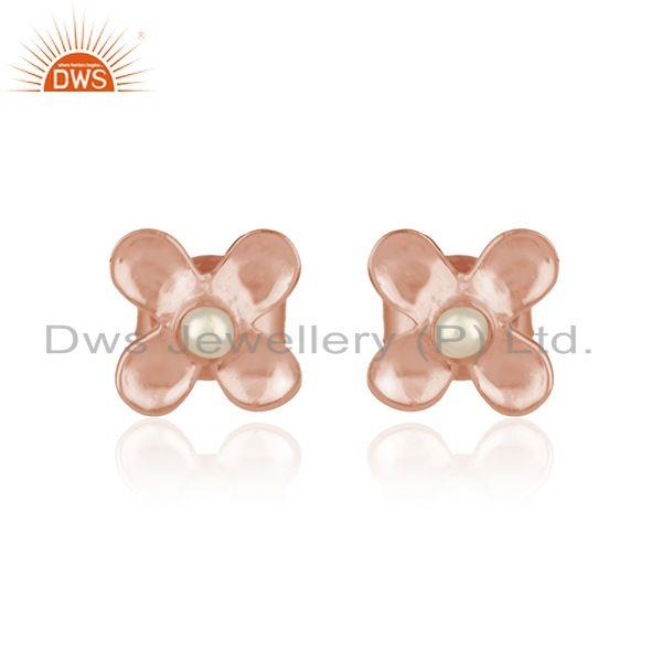 Designer dainty earring in rose gold on silver 925 with pearl