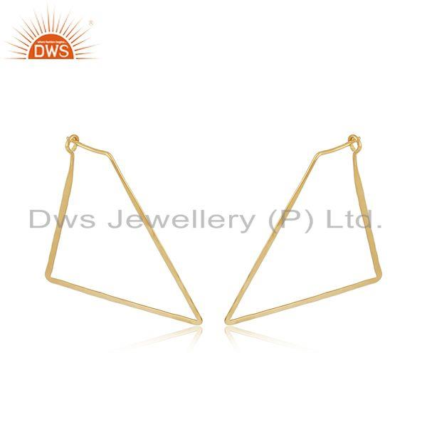 Handmade 18k Yellow Gold Plated Girls Plain Silver Earrings