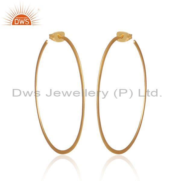 Handmade and handhammered brass gold round hoop earrings