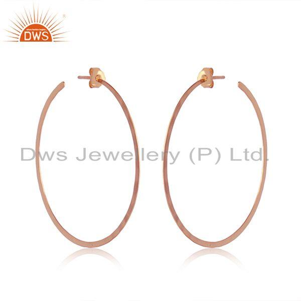 Handcrafted large hoop in rose gold over solid silver