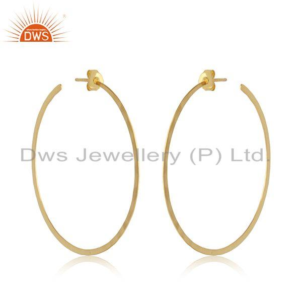 Handcrafted large hoop in yellow gold over solid silver