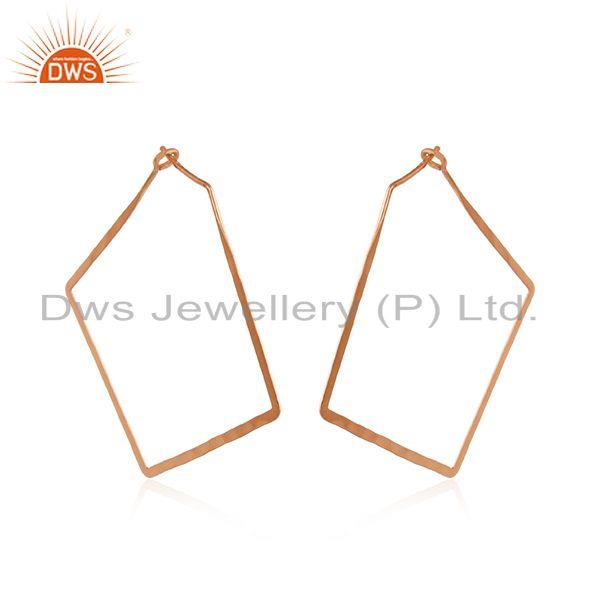 Designer geometrical large hoop in rose gold on silver 925