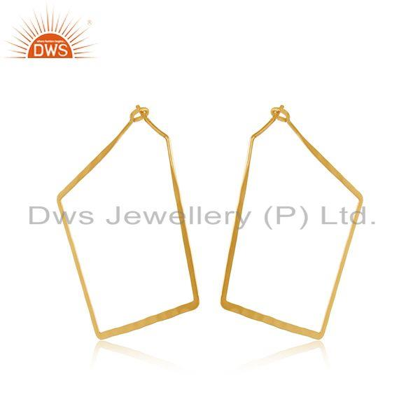 Designer Geometrical Large Hoop in Yellow Gold On Silver 925