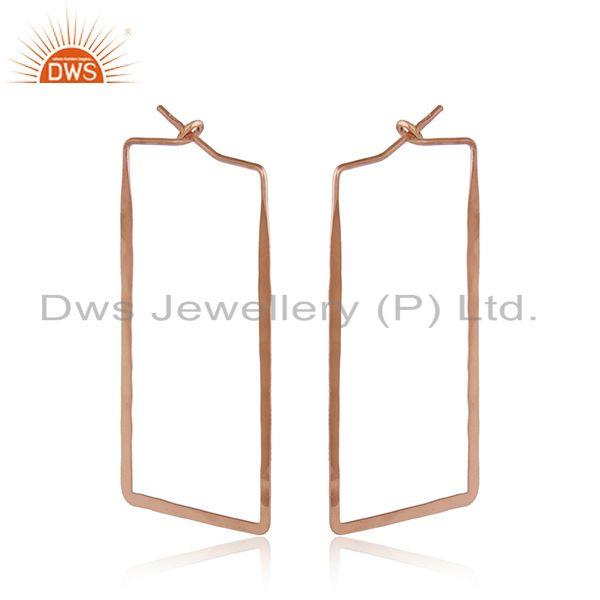 Handmade Geometrical Large Hoop in Rose Gold On Silver 925