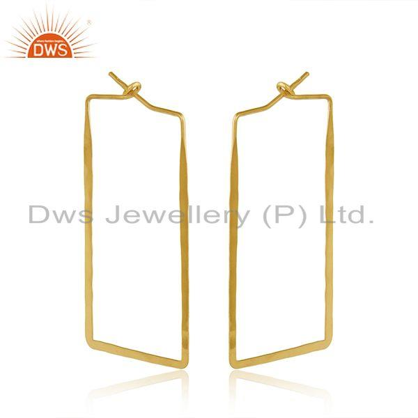 Handmade geometrical large hoop in yellow gold on silver 925