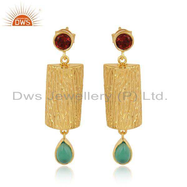 Green onyx garnet gemstone gold plated designer silver earrings