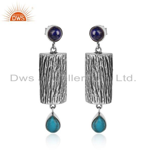 Turquoise Lapis Lazuli Gemstone Designer Oxidized Silver Earrings