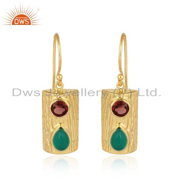 Green Onyx Garnet Gemstone Vintage Design Gold Plated Silver Earring