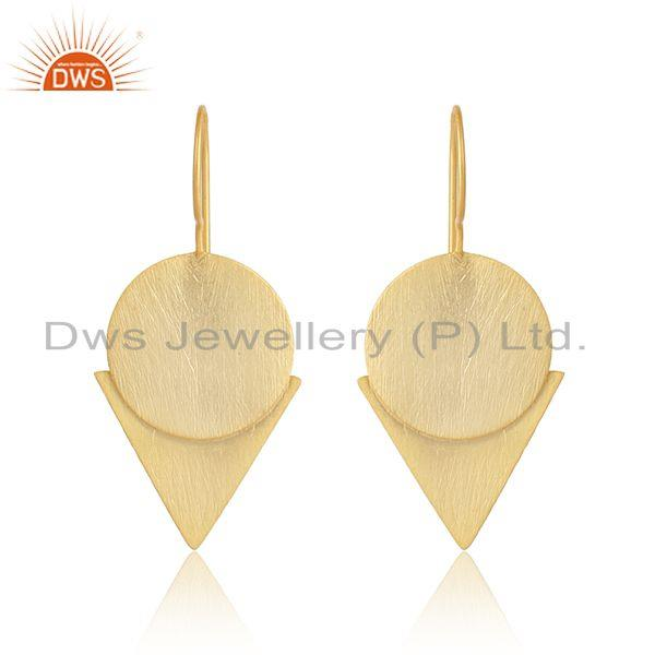 Handmade 18k gold plated 925 silver geometric design earrings