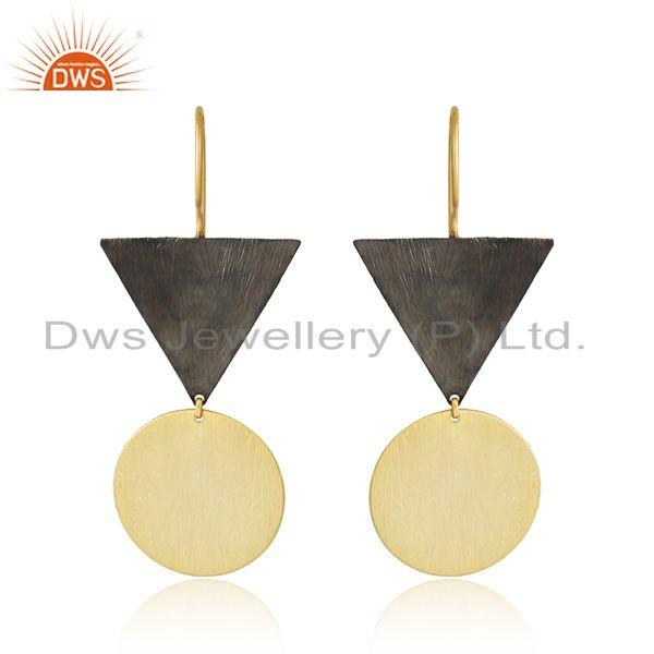 Handmade two tone plated designer plain silver earrings jewelry