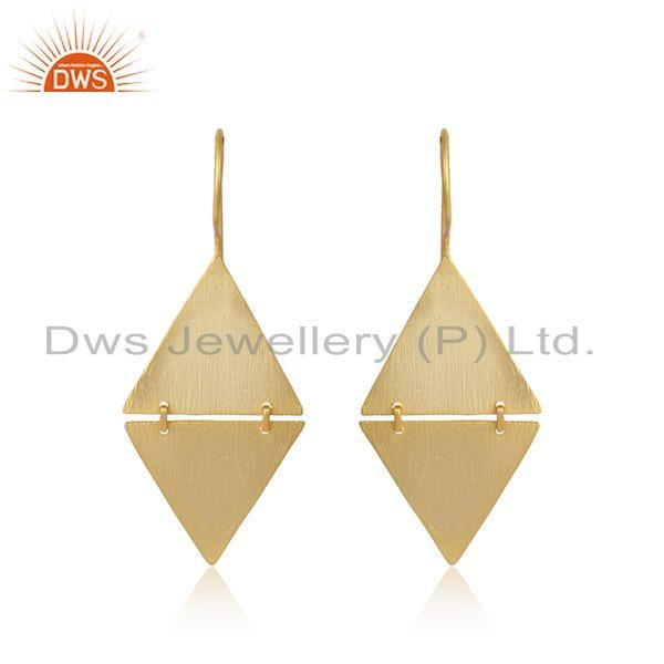 Tow Triangle Design 18k Yellow Gold Plated Plain Silver Earrings