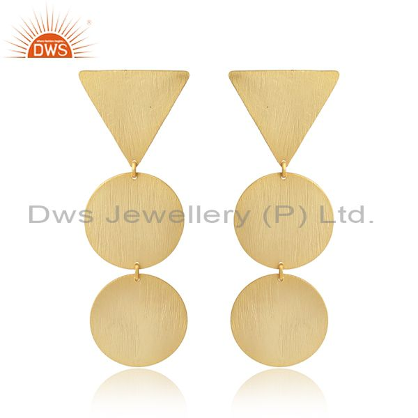 Geometric designer 18k gold plated 925 plain silver earrings jewelry