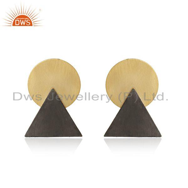 Two Tone Plated Handmade 925 Plain Silver Earrings Jewelry