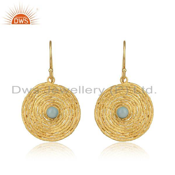 Spiral Design Gold Plated Silver Aqua Chalcedony Gemstone Earrings