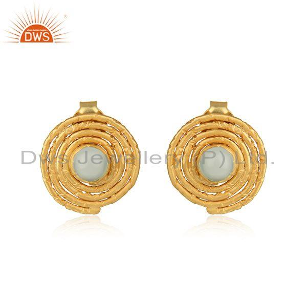 Round Stud Gold Plated 925 Silver Aqua Chalcedony Gemstone Earrings