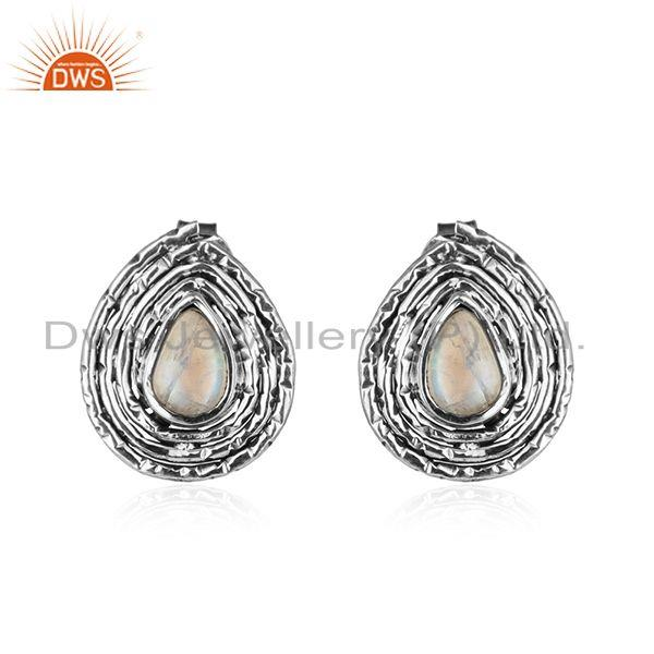 Pear shape oxidized 925 silver rainbow moonstone gemstone earrings