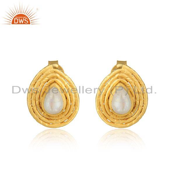 Pearl shape gold plated 925 silver rainbow moonstone stud earrings