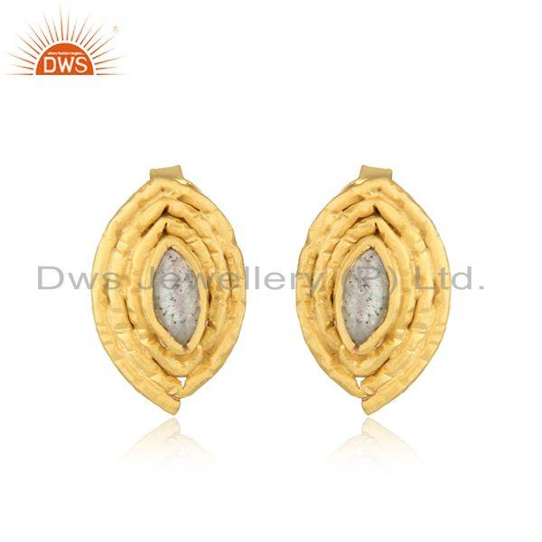 Labradorite Gemstone Designer Gold Plated 925 Silver Stud Earrings