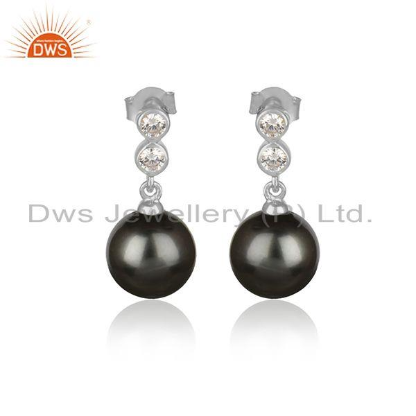 Zircon Gray Pearl Gemstone White Rhodium Plated Silver Earrings
