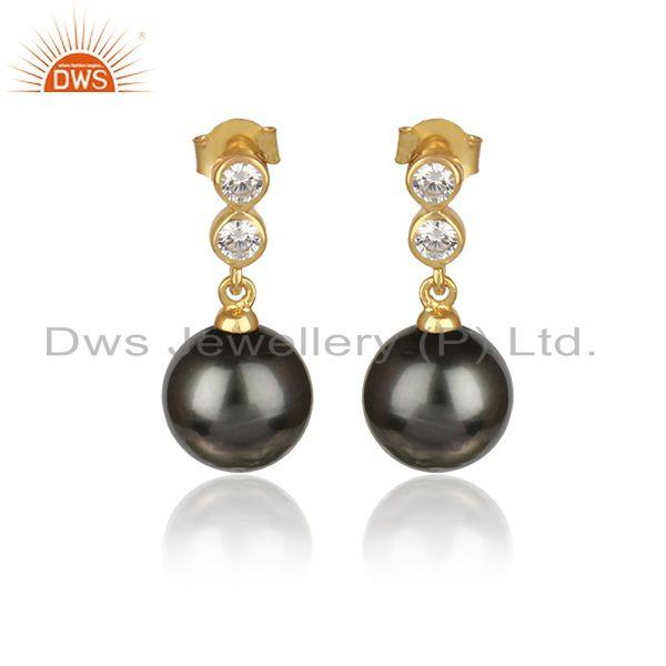 Cz gray pearl gemstone 18k gold plated 925 silver designer earrings