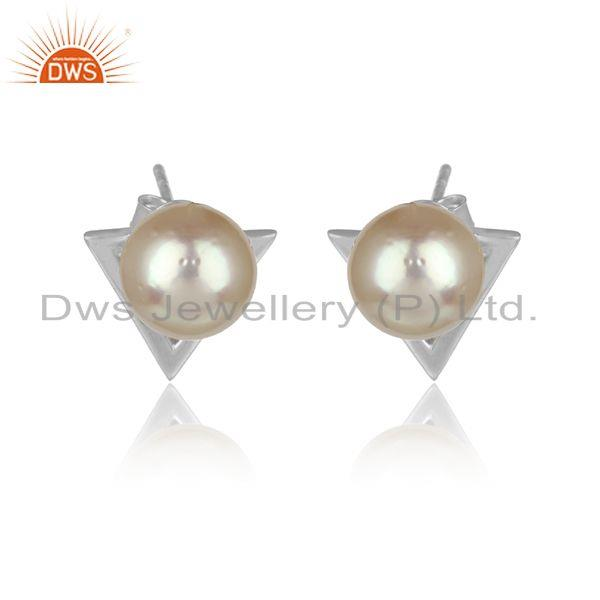 Pearl Gemstone White Rhodium Plated Silver Womens Stud Earrings