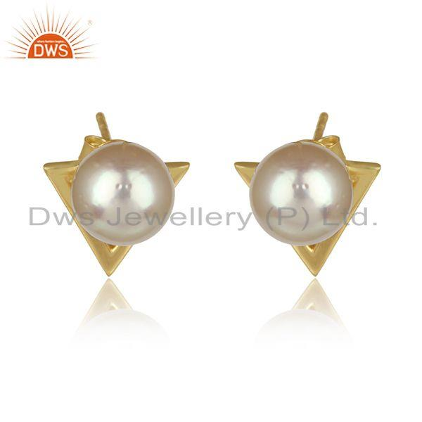 Natural Pearl Gemstone Gold Plated 925 Silver Designer Stud Earrings